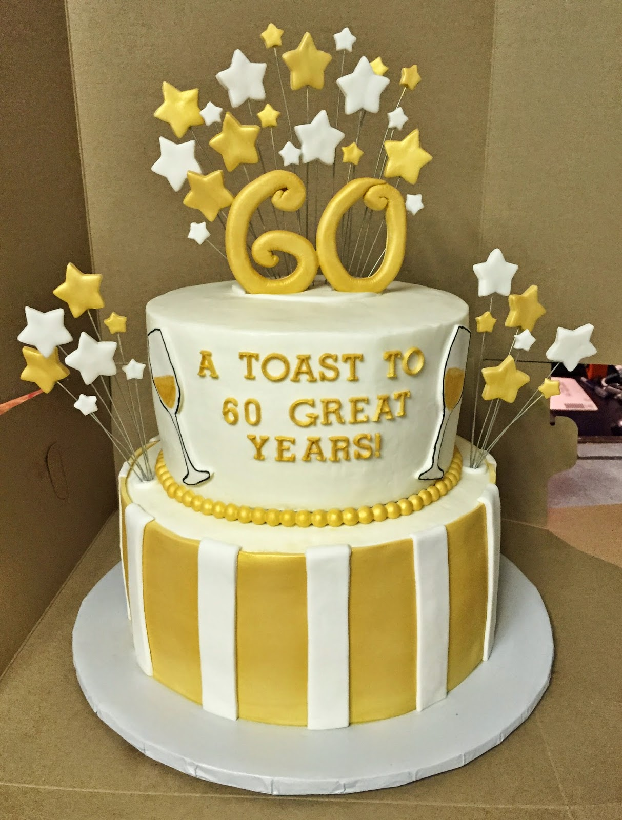 Cakes by Mindy Gold and White 60th Birthday Cake 8 10