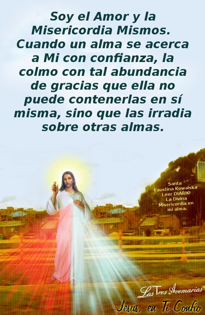 imagen de jesus con mensaje del diario divina misericordia en mi alma