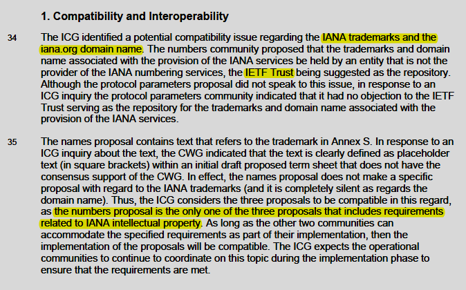 Excerpt from page 15 of the IANA Transition Plan published by the ICG, July, 2015