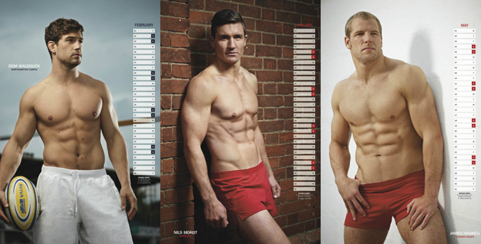 'Rugby's Finest' - 2013 • From left to right: Dom Waldouck, Nils Mordt and James Haskell • Rugby Union Players