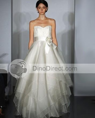 9 Ruffle Layer Waist Bow Sweetheart Bridal Ball Gown Wedding Dress