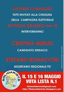 Giovedì 12 maggio, chiusura campagna elettorale