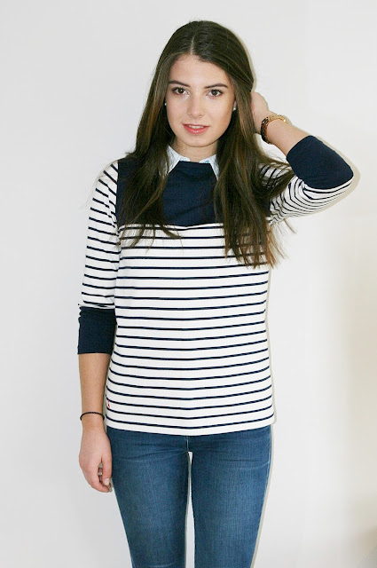 Katherine Penney Chic Stripes Joules Pretty Preppy Collar Simple Classic Fashion Style