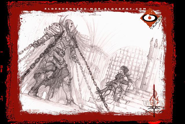 Dibujo previo para la ilustración hecha por ªRU-MOR que representa una escena del modo historia del juego de cartas de temática fantastía ÉPICA. Edades Oscuras.