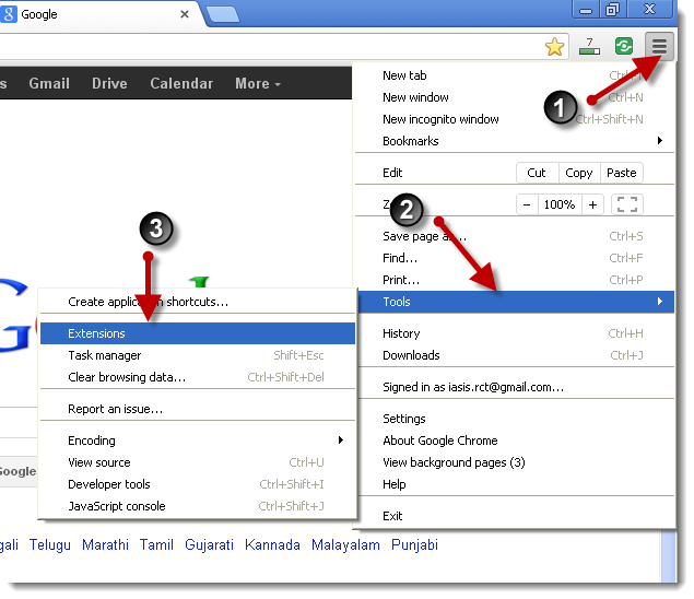Uninstal Add-ons/Extentions di browser google chrome