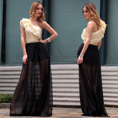 Black and Daffodil Floor Length Dress