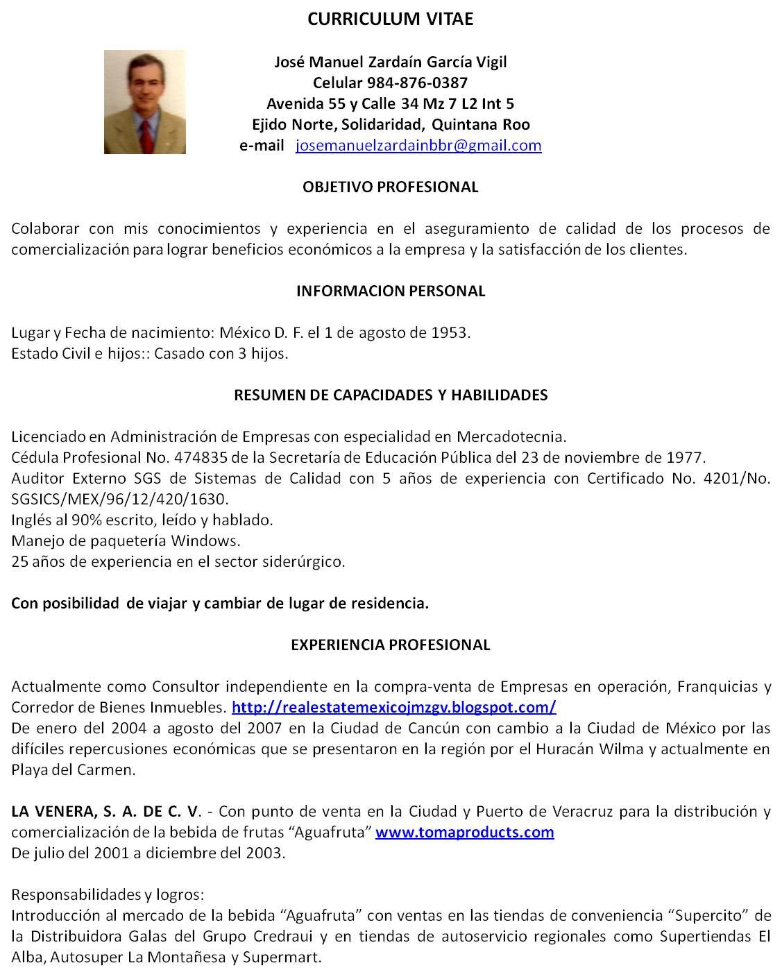 Curriculum Vitae Jose Manuel Zardain G. V. | Curriculum Vitae JMZGV