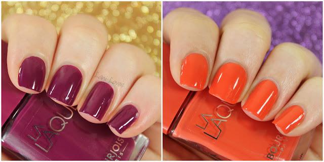 Bourjois La Laque - Orange, Beach Violet nail polish swatches & review
