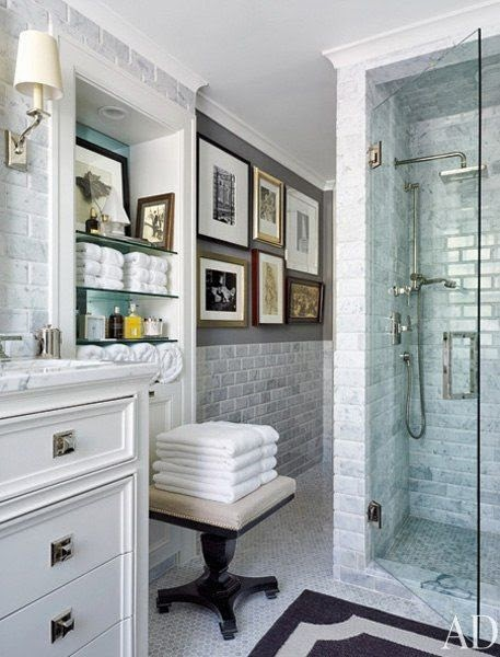 gray and white subway tile master bathroom