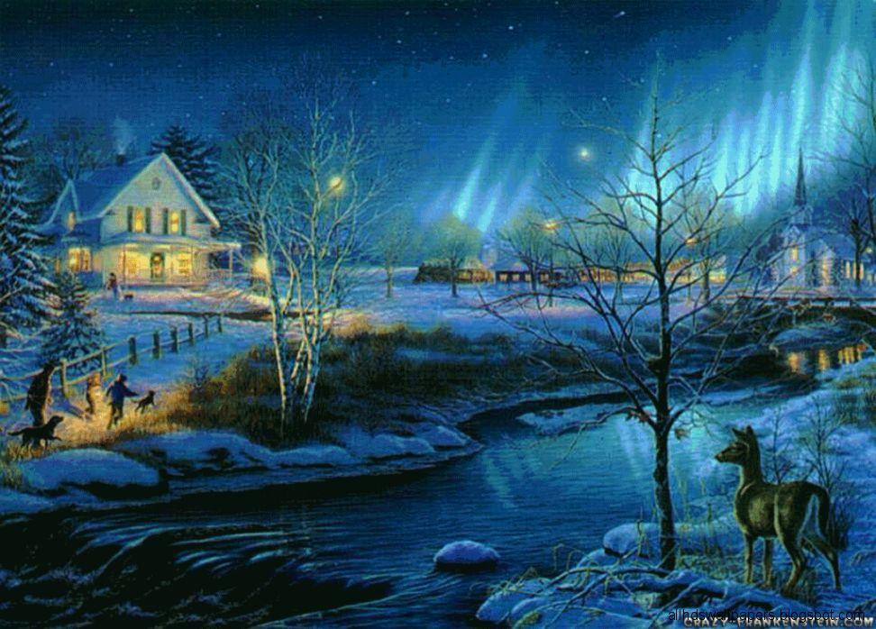 Christmas Winter Scene Wallpaper