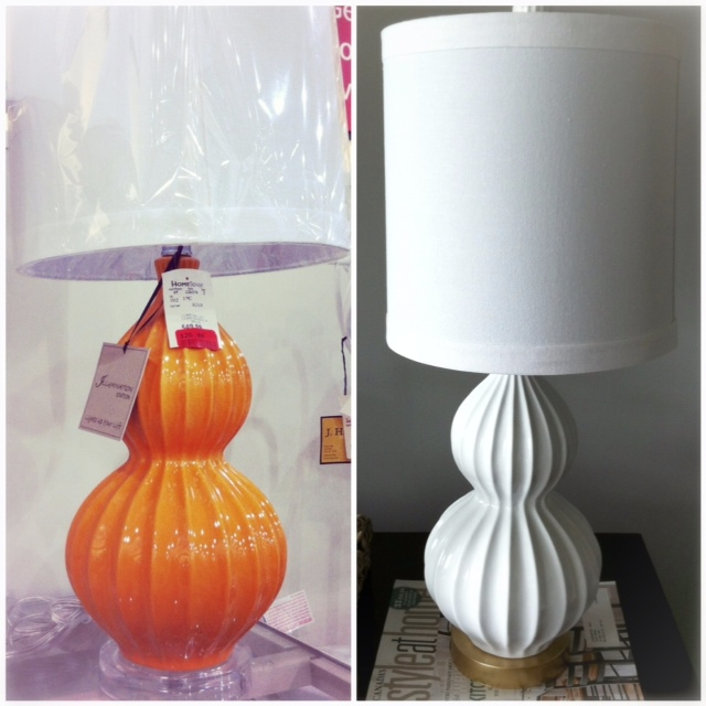double gourd lamp ivory and the lovely newly refinished lamp sitting in its new home elliven studio diy double gourd lamp transformation