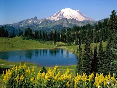 Priroda, cvijeće, jezero planine proljeće download besplatne pozadine slike za desktop