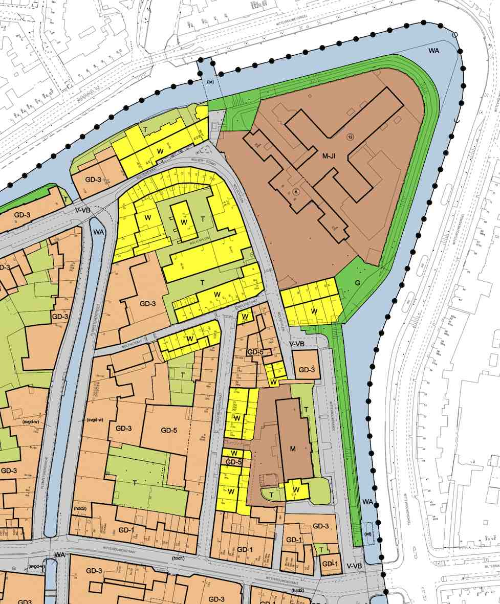 Plattegrond Ridderschapkwartier - plankaart bestemmingsplan binnenstad van Utrecht:
