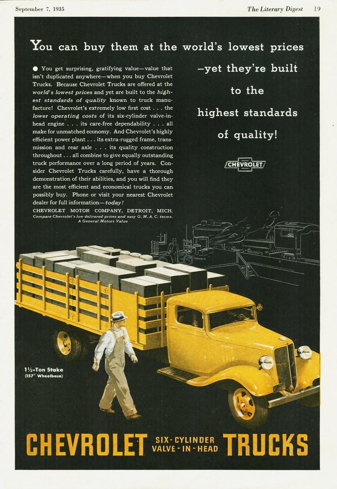 transpress nz  1935 Chevrolet truck advert