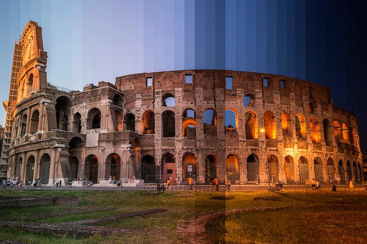 Múltiples Fotos de lugares icónicos tomados en distinto tiempo se cortan en formando imágenes individuales
