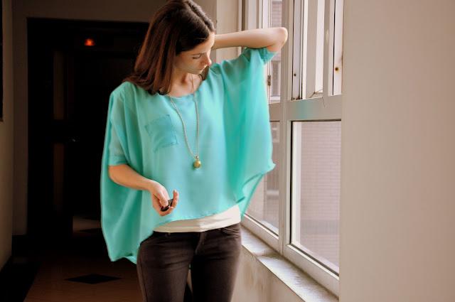 turquoise sheer drape shirt