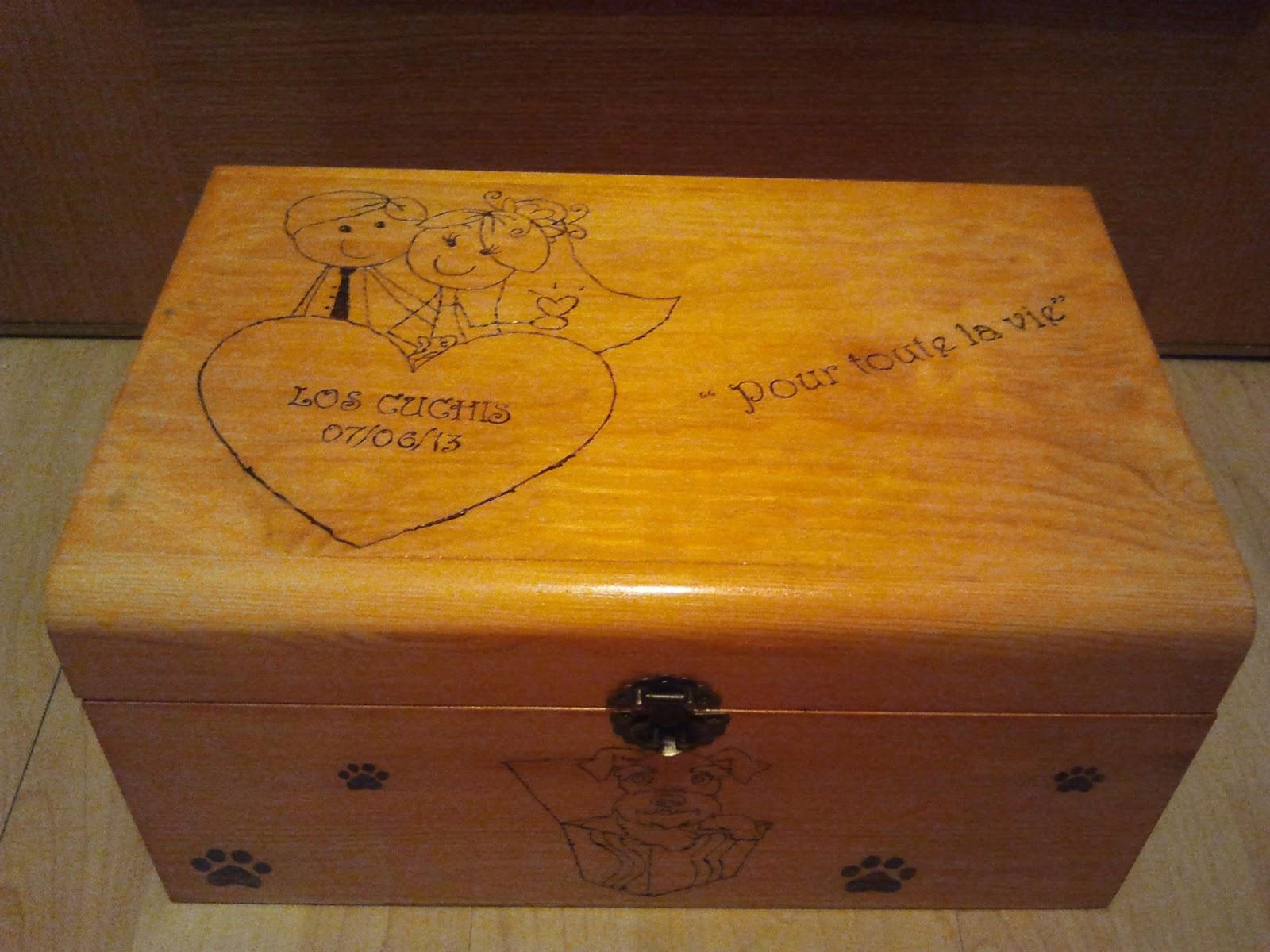 Objetos madera pirograbados el mundo de los caprichos - Cajas de madera para regalo ...