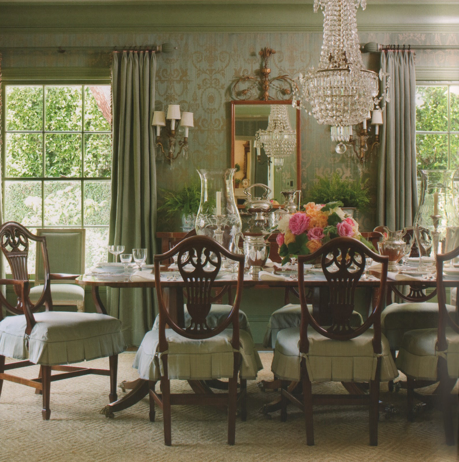 The pink pagoda spring table settings and easter traditions for Beautiful traditional dining room