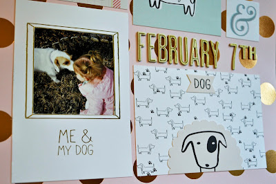 12x12 dog scrapbook layout kids child daughter girl ruff pink black white teal aqua blue polka dots gold copper foil dauschund  puppy love