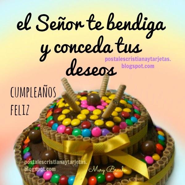 Que hoy sea un Cumpleaños Feliz para ti. mensaje cristiano, Imagen con pastel de cumple, felicidades