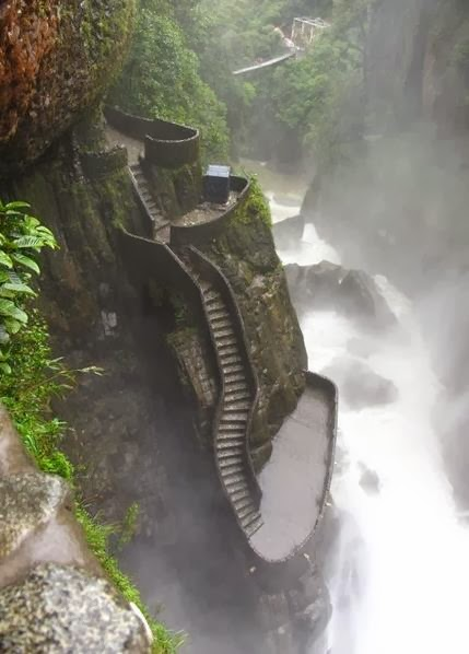 Stairs to the waterfall, Ecuador