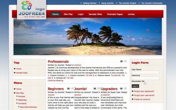 Free Red Blue Beach Flash Joomla 1.6 Template