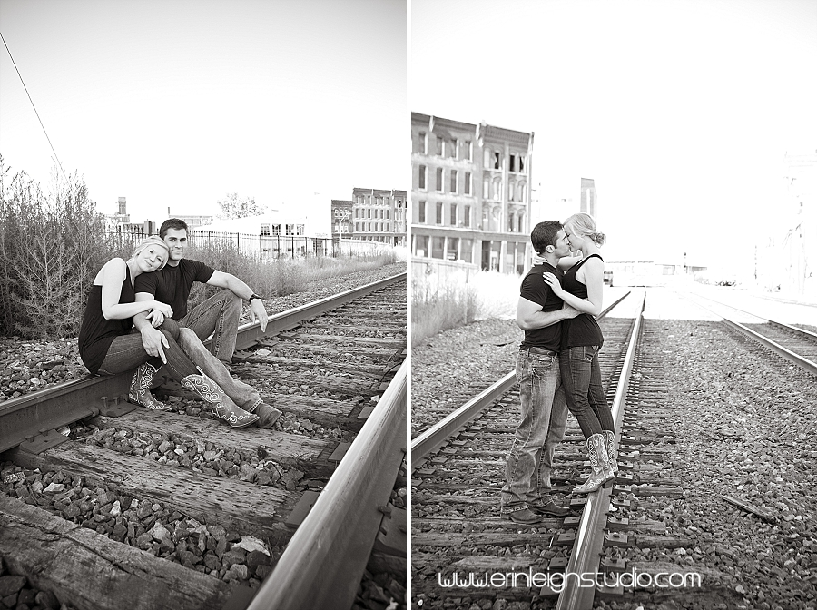 engagement session on railroad tracks in the west bottoms