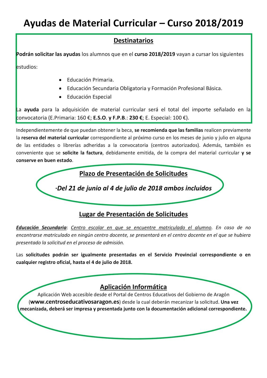 AYUDAS DE MATERIAL CURRICULAR
