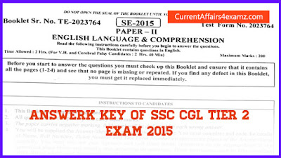 Answer Key of SSC CGL Tier 2 2015