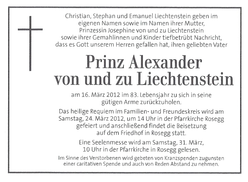 Royal Musings: Prince Alexander Of Liechtenstein'S Death Notice