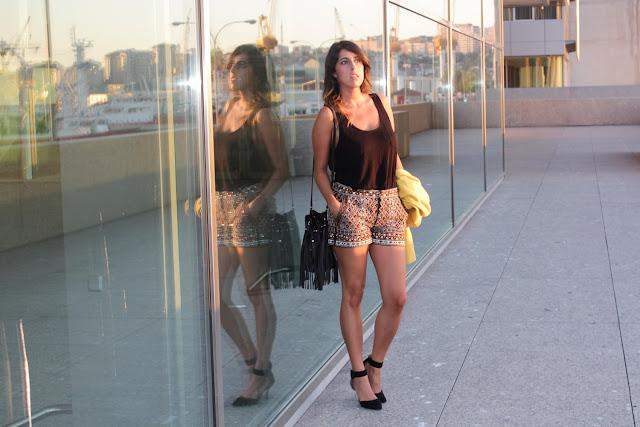 Shorts glitter de Zara