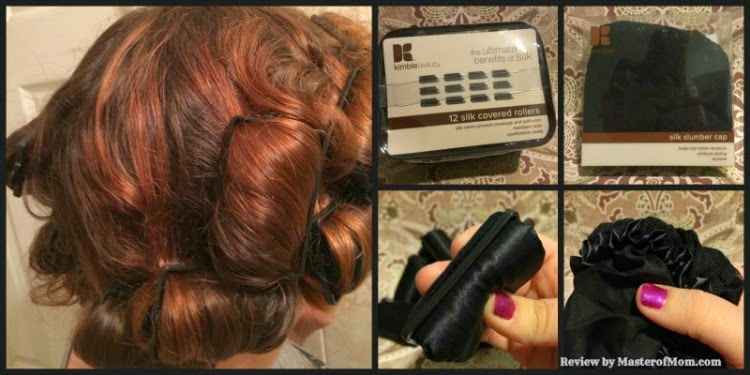 Silk roller set and slumber cap from Kim Kimble. Hair in rollers.