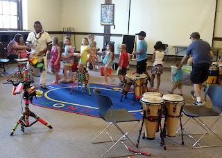 Tony Fonseca leads the all hands drumming workshop