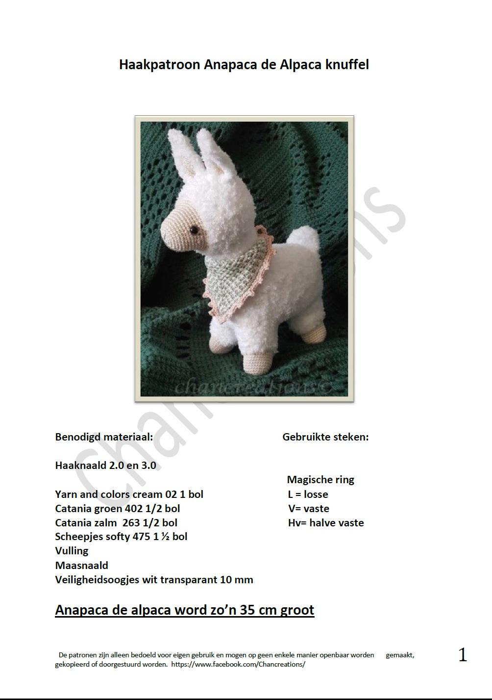 Haakpatroon anapaca de alpaca knuffel