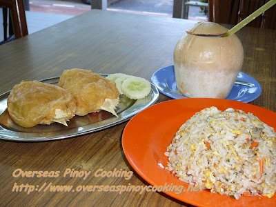 Stuffed Crab with Seafood Fried Rice and Coconut Drink
