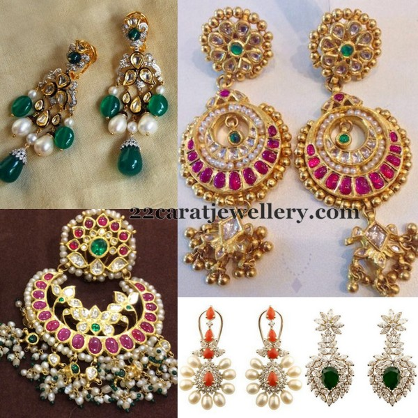 Diamond and Kundan Large Earrings