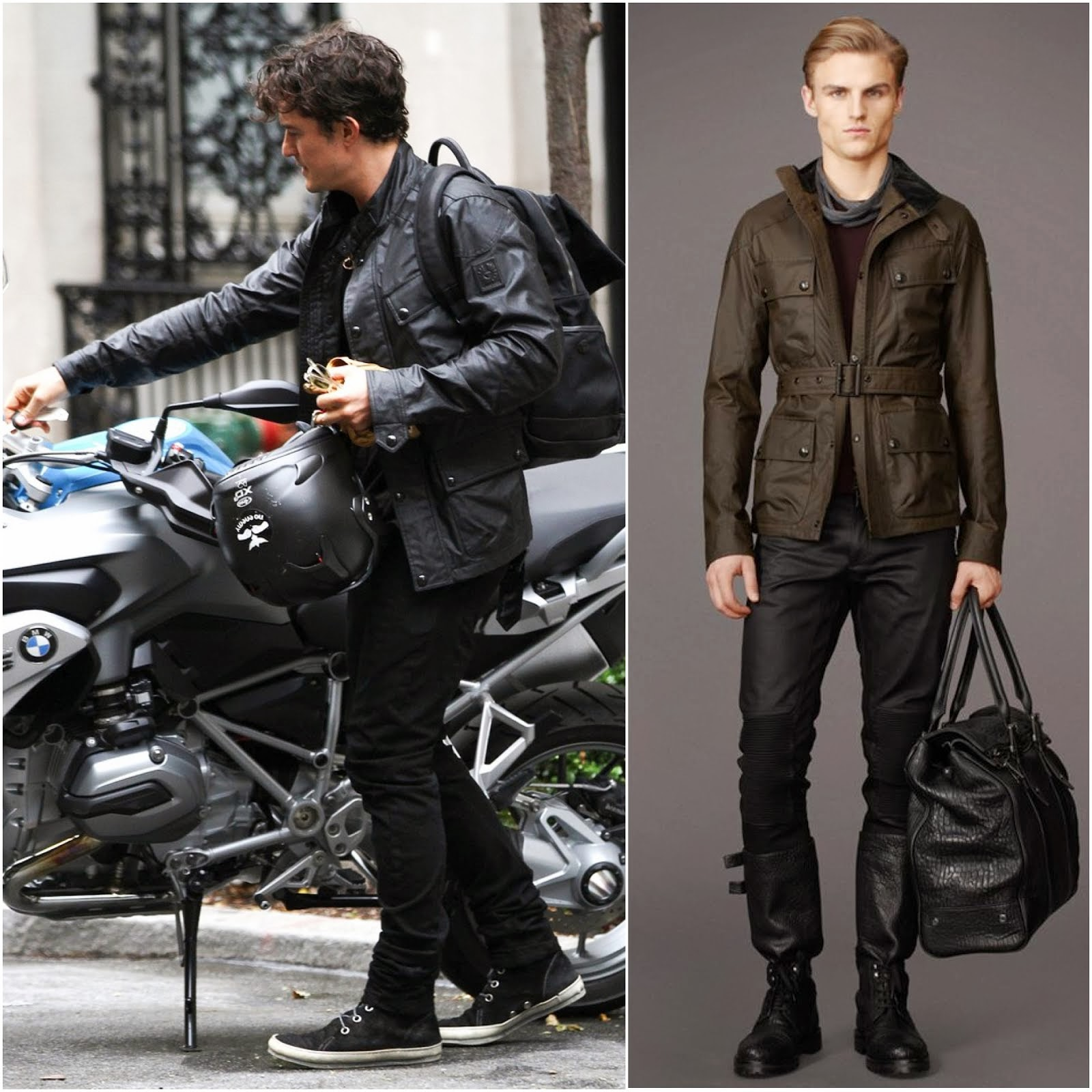 00O00 MENSWEAR BLOG: ORLANDO BLOOM IN BELSTAFF CIRCUITMASTER JACKET, NYC JULY 2013