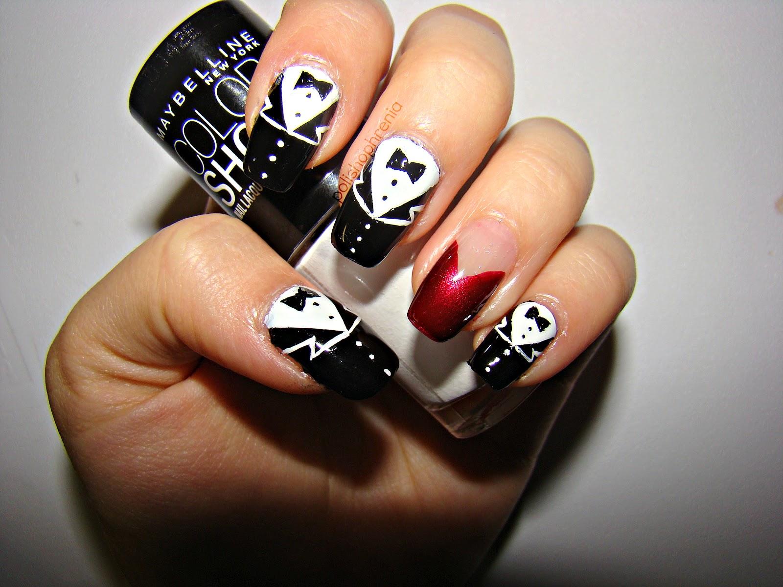 Polishophrenia: Tuxedo Nails with a red dress accent.