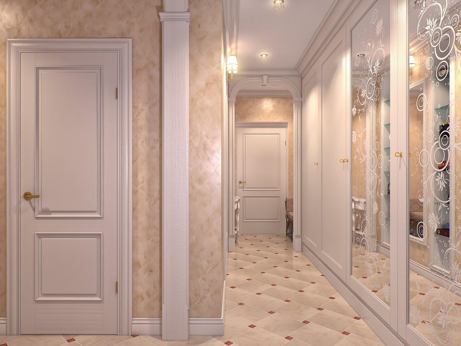 оформление коридора с белой входной дверью