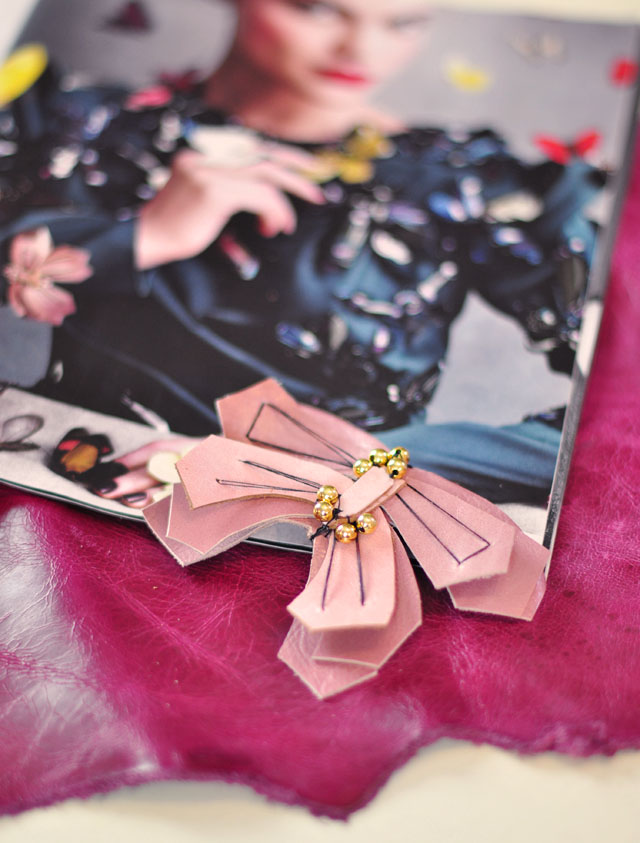DIY Leather Butterfly Pin inspired by Lanvin