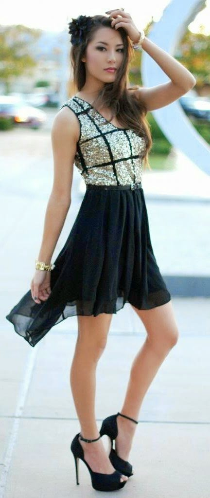 See more Sweet Sequins Top With Black Pleated Skirts