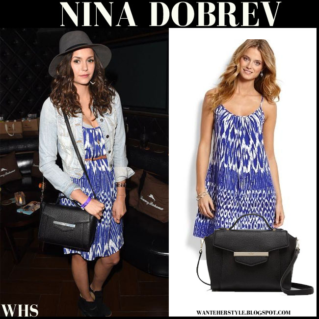 Nina Dobrev in blue tie dye mini dress with black Kate Spade Kennedy satchel