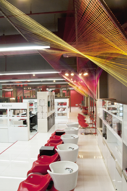overview of flagship beauty salon for AmbikaPillai in New Delhi's South Extension