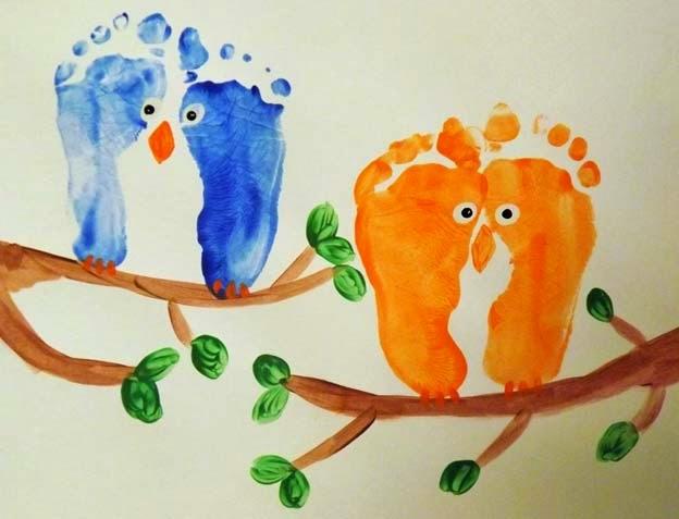 Owl footprint art for kids.