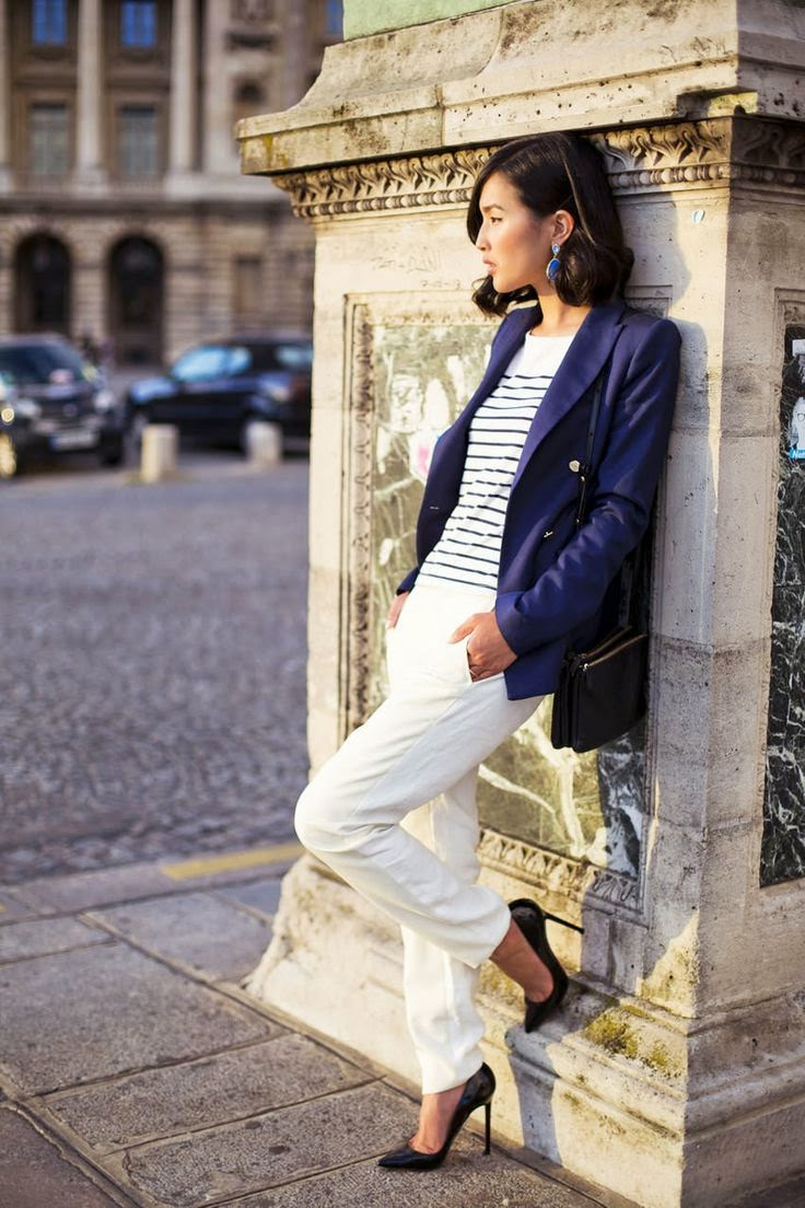 Parisian Chic wearing a Blazer, Striped Shirts
