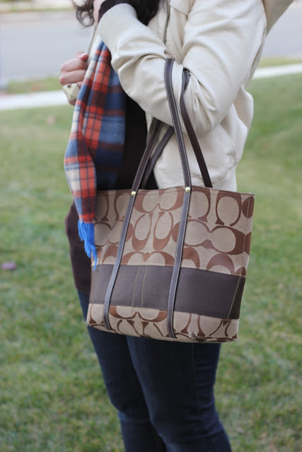 Plaid Scarf and Coach Purse
