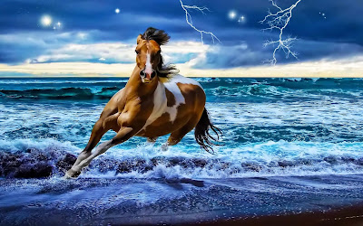 caballo fantastico entre las olas del mar bajo un cielo estrellado
