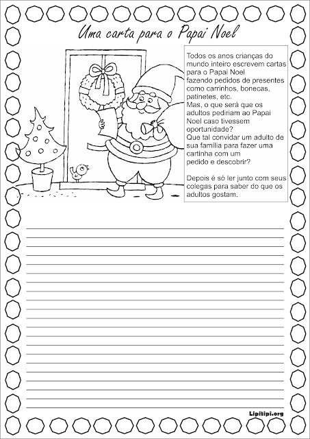 Atividade Natalina produção escrita carta