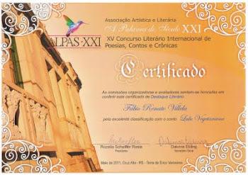 Crônica homenageada com Menção Honrosa, no XV Concurso Internacional de Literatura, em 2011