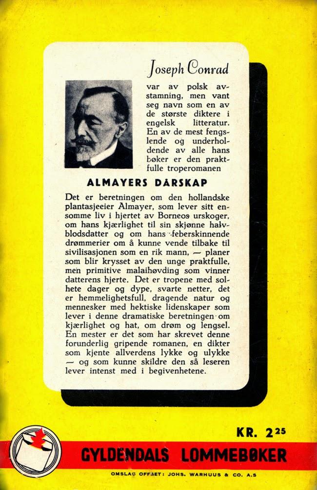 Baksiden av Almayers dårskap av Joseph Conrad, Gyldendals lommebøker 1953